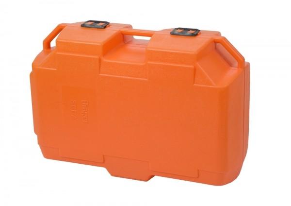 PA-Transportkoffer orange, Platz für einen Pressluftatmer mit Einzelflasche, Lungenautomat und Maske