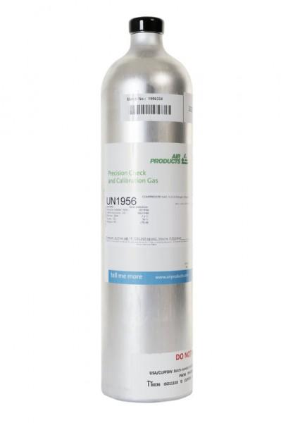 Prüfgas 58 l Flasche 50 ppm H2S / 0.75 % Iso-Butan / 12 % O2 in Stickstoff