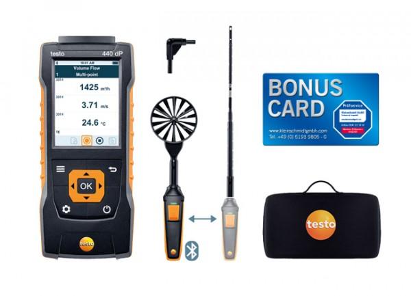 testo 440 delta P Strömungs-KombiSet 1 mit Bluetooth® + BONUS CARD