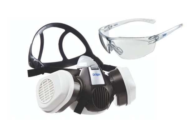 Dräger Halbmaske X-plore 3300 inkl. ABEK1 Hg P3 R D Filter + gratis Schutzbrille