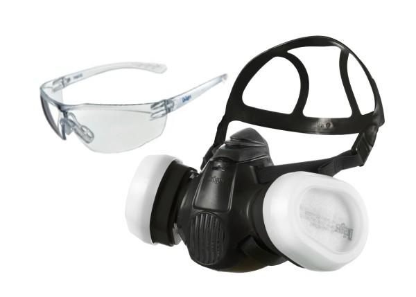 Dräger Lackiererset Halbmaske X-plore 3300 inkl. Filter A2 P3 R D + gratis Schutzbrille
