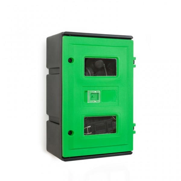 PA-Wandbox, grün - Platz für einen Pressluftatmer mit Einzelflasche, Lungenautomat und Maske