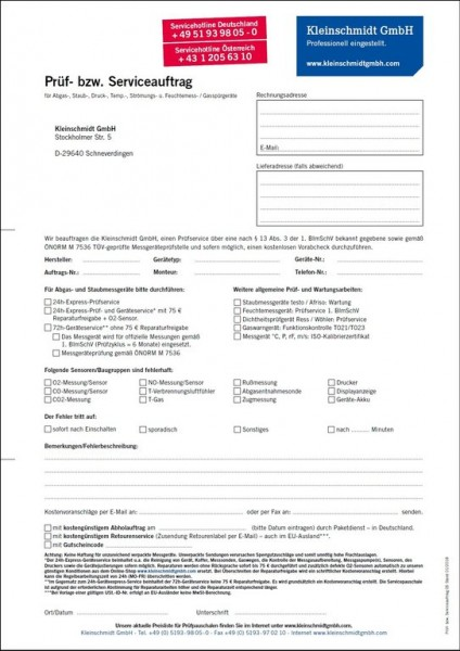 24h-Express-Prüfservice für sämtliche Abgasmessgeräte