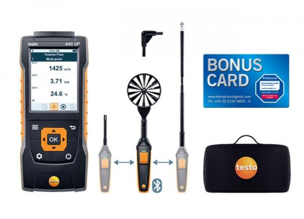 testo 440 delta P Strömungs-KombiSet 2 mit Bluetooth® + BONUS CARD