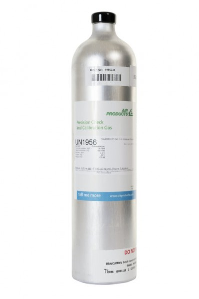Prüfgas 58 l Flasche 15 ppm H2S / 100 ppm CO / 2 % CO2 / 2.5 % CH4 / 15 % O2 in Stickstoff